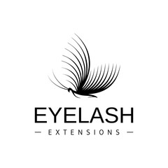 Eyelash extension logo. Vector black and white illustration in a modern style