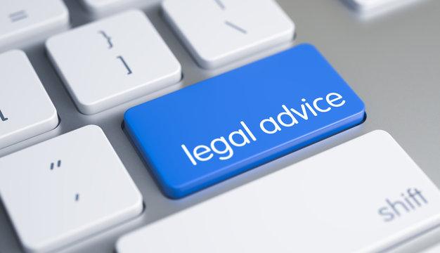Online Service Concept: Legal Advice on the Metallic Keyboard Background. Online Service Concept with Blue Enter Keypad on the Modern Keyboard: Legal Advice. 3D Illustration.