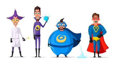 Set of superhero. Cartoon vector illustration