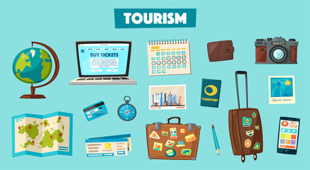 Travel collection. Vacation theme. Cartoon vector illustration.