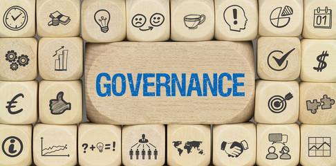 Governance / Würfel mit Symbole