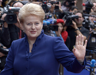 Lithuania's President Grybauskaite arrives to attend an EU summit at the European Council headquarters in Brussels
