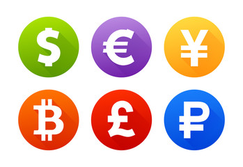 Currency icons with shadow