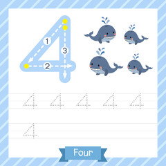 Number four tracing practice worksheet with 4 whales for kids learning to count and to write. Vector Illustration.