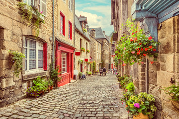 Scenic alley scene in an old town in Europe Fototapete