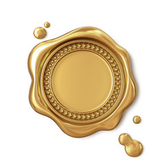 Golden wax seal with dotted circle