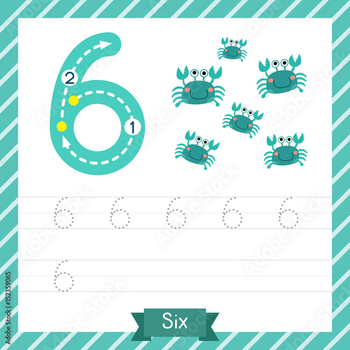 Number six tracing practice worksheet with 6 crabs for kids learning ...