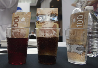 The new Canadian 100 dollar bills made of polymer are placed in glasses of juice, cola and water in Toronto
