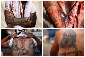 A combination picture shows the tattoos of Shi'ite Muslim men after gashing their bodies with razors during a religious procession to mark Ashura in Nabatiyeh