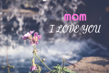 mom i love you, happy mother's day card with flower and waterfall background