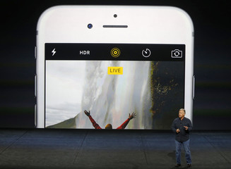 Phil Schiller speaks about the live photo capability for new iPhone 6s and iPhone 6s Plus during an Apple media event in San Francisco, California