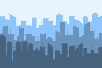 Random blue city skyline Vector on light background.