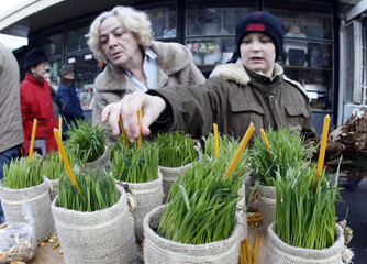 Residents buy wheat, one of the symbols of the Yule log, in Belgrade