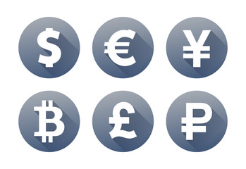 Set of currency icons with shadow