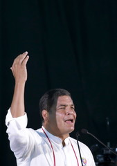 "Rafael Correa, President of Ecuador, speaks during the close ceremony of the ""World People's Conference on Climate Change and the Defense of Life"" in Quillacollo"
