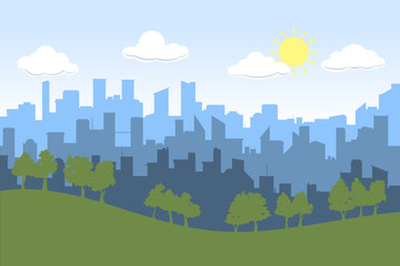 Random blue city skyline Vector on light background. Day, with trees on foreground