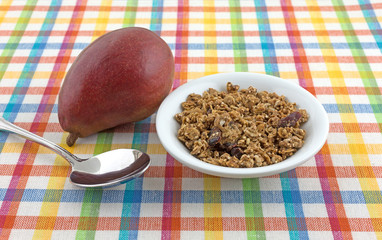 Organic cranberry nut granola with a pear and spoon atop a colorful place mat.
