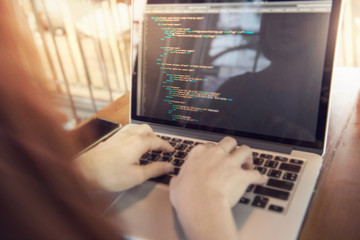 Wall Mural - Woman hands coding html and programming on screen laptop, development web, developer.