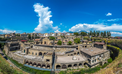 Tuinposter Rudnes Panoramic view of Herculaneum ancient roman ruins