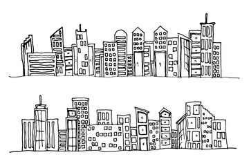 Cartoon hand drawing city. Vector on white background.
