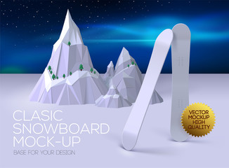 Poster with classic clean snowboard for your design. Mockup snowboard for presentations image on a light background. Base for your design!
