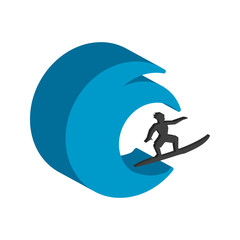 Surfer symbol. Flat Isometric Icon or Logo. 3D Style Pictogram for Web Design, UI, Mobile App, Infographic.