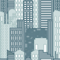 Seamless Pattern of Cartoon hand drawing city. Vector.