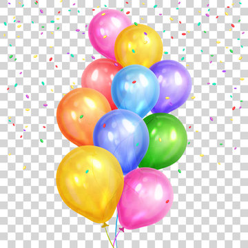 Bunch of colorful helium balloons isolated on transparent background. Party decorations for birthday, anniversary, celebration. Vector illustration.