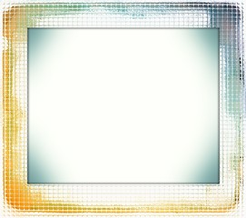Blue and sepia abstract glass frame.