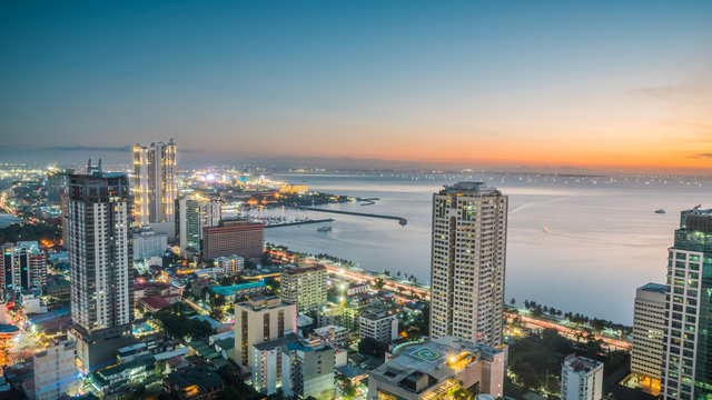 Beautiful Manila city shore Manila Bay skyline during sunset