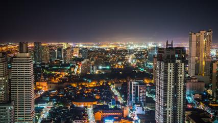 Beautiful bird's eye view of Manila City at night