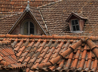 Tiled roofs in ruins are seen in the village of Sintra, 30 km (19 miles) north of Lisbon
