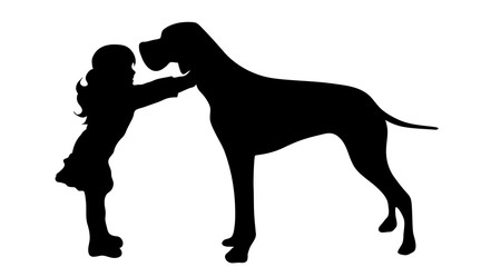 Vector silhouette of girl with dog on white background.