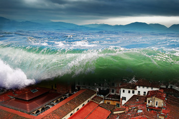 Great wave crashing above the city. Global flood.