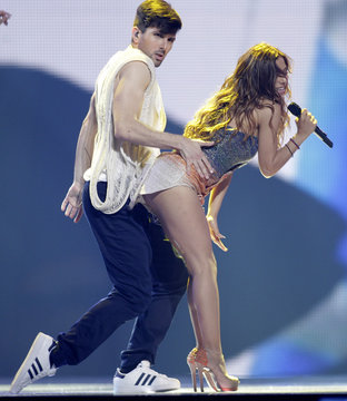 """Eleftheriou of Greece performs her song """"Aphrodisiac"""" during a rehearsal for the Eurovison Song Contest final in Baku"""