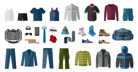Set of men's clothing and accessories. Fashion and style elements.