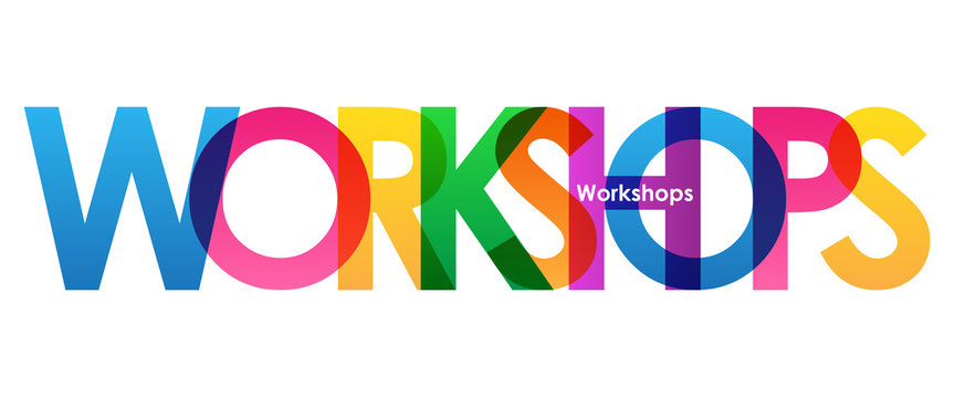 WORKSHOPS Colourful Vector Letters Icon