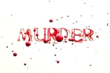 Murder Stamp Print Text in Blood Colored Paint