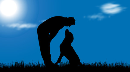 Vector silhouette of man with dog in nature.