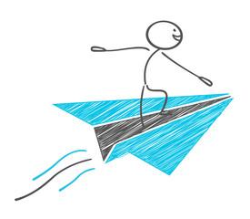 Stickman surfing paper airplane