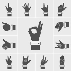 hand icons vector set