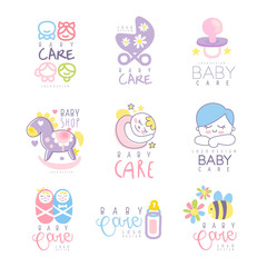 Baby care set for logo design, hand drawn vector Illustrations