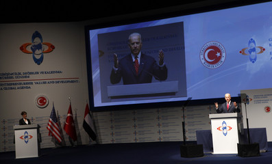 U.S. Vice President Biden reacts as he makes his address at the Global Entrepreneurship Summit in Istanbul