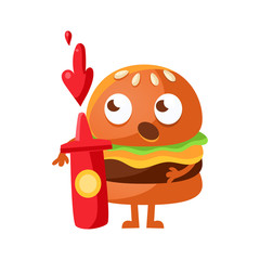 Funny burger with big eyes standing and holding a red bottle of ketchup. Cute cartoon fast food emoji character vector Illustration