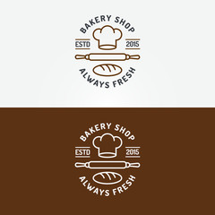 Bakery shop logo set with chefs hat, plunger and loaf line style isolated on background for bread house, loaf store, coffee shop, cupcake firm, food market, cafe. Vector Illustration