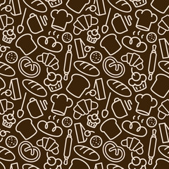 Bakery seamless pattern with food and baking accessories white color line style on brown background for bread house, coffee shop, loaf store, food market, cafe, cupcake firm. Vector Illustration