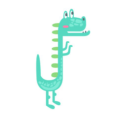 Cute little dino. Prehistoric animal character colorful vector Illustration