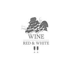 Wine red and white label. Vector illustration