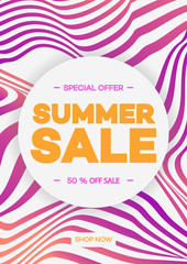 Summer sale banner template abstract lines background pink color gradient style with special offer for use promotion, flyer. Vector Illustration