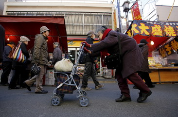 An elderly woman pushes a walking aid as she walks on a street at Tokyo's Sugamo district, an area popular among the Japanese elderly, in Tokyo
